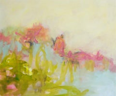 The Simple Things - colorful Abstract landscape / contemporary  floral painting
