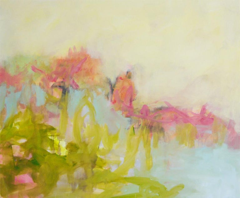 Annette Jellinghaus Interior Painting - The Simple Things - colorful Abstract landscape / contemporary  floral painting