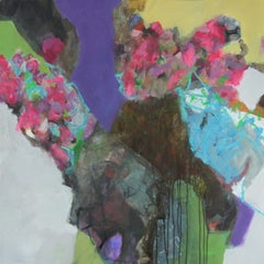 Wishes - colorful Abstract landscape / floral painting with pink, green, black