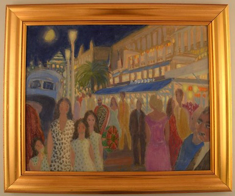 Anni Løgstrup: Danish artist born 1912. View of the French Riviera. Evening in nice. Oil on canvas. Canvas measures: 49 cm. x 39 cm. The frame measures 6.5 cm. Signed and dated: Lög, 51. In perfect condition.