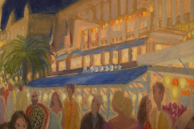 Anni Løgstrup Danish Artist View of the French Riviera, Oil on Canvas For Sale 1