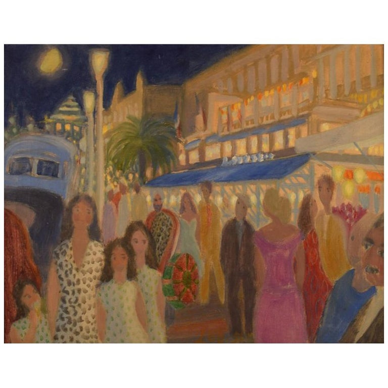 Anni Løgstrup Danish Artist View of the French Riviera, Oil on Canvas For Sale