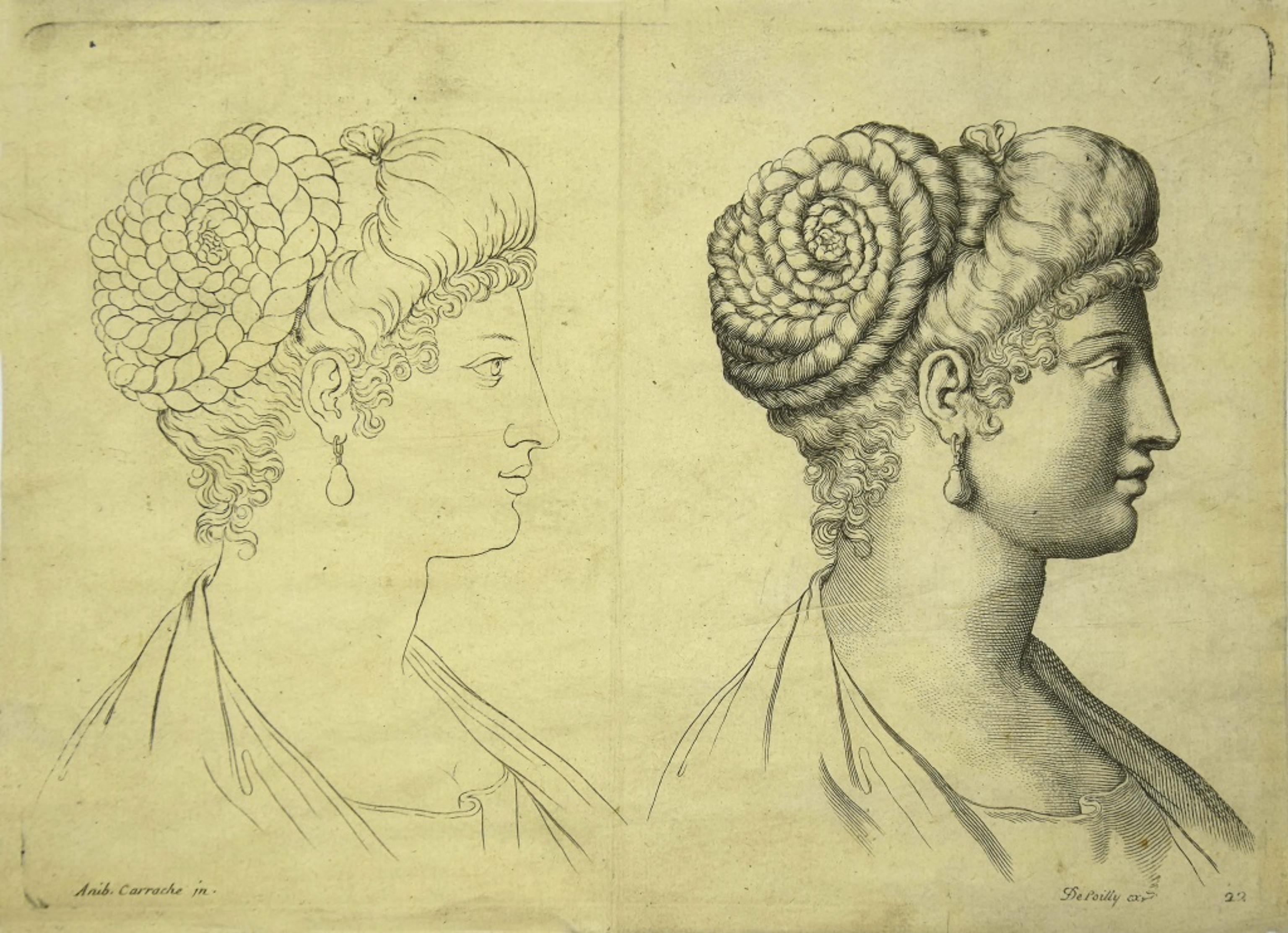 Female Portraits - Original Etching After Annibale Carracci - 17th Century