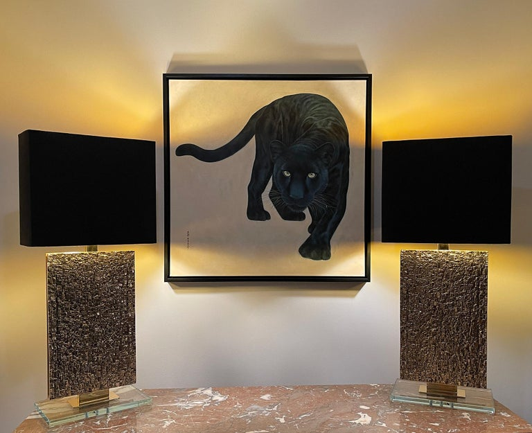 Annick Biaudet - Original Painting - Black panther In Excellent Condition For Sale In Encino, CA