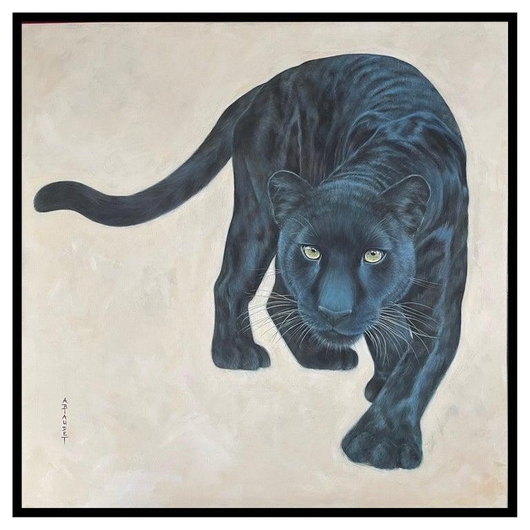 Annick Biaudet - Original Painting - Black panther For Sale