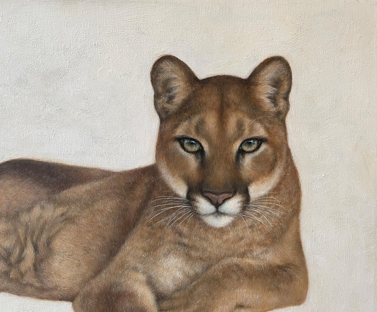 North American Annick Biaudet, Original Painting, Cougar - Wildlife For Sale