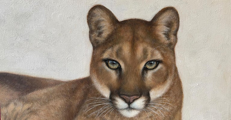 Hand-Painted Annick Biaudet, Original Painting, Cougar - Wildlife For Sale