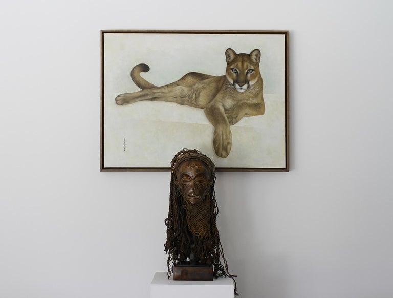 Acrylic Annick Biaudet, Original Painting, Cougar - Wildlife For Sale