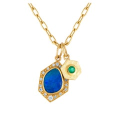 Annie Fensterstock Boulder Opal Emerald and Diamonds Gold Pendant Necklace