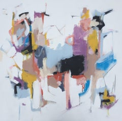 Again by Annie King, Large Square Mixed Media on Canvas Abstract Painting