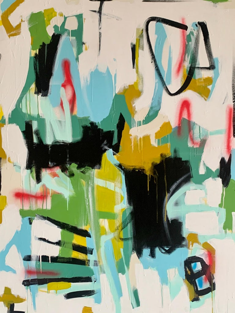 'Here I Am' is a large mixed media on canvas abstract painting of vertical format created by American artist Annie King in 2020. Featuring a palette made of  black, blue, yellow, pink, green and other tones, this painting showcases joyous fields of