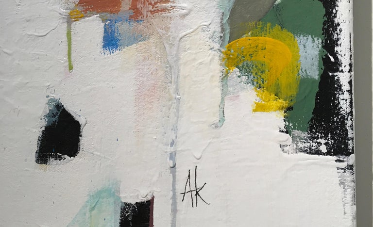 New Beginnings Abstract original painting Contemporary Art -21st Century - Beige Abstract Painting by Annie King