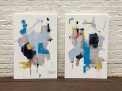 Primary Diptych by Annie King 2018 Large Horizontal Abstract Diptych Painting