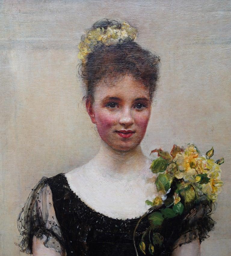 Debutante - British Victorian oil painting portrait Elsie Elizabeth Ebsworth  For Sale 6