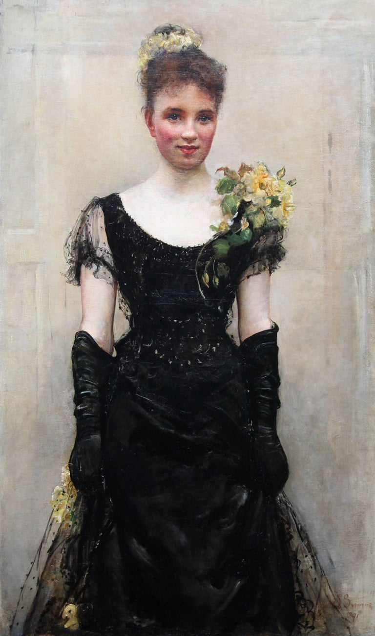 Debutante - British Victorian oil painting portrait Elsie Elizabeth Ebsworth  - Painting by Annie Louisa Swynnerton