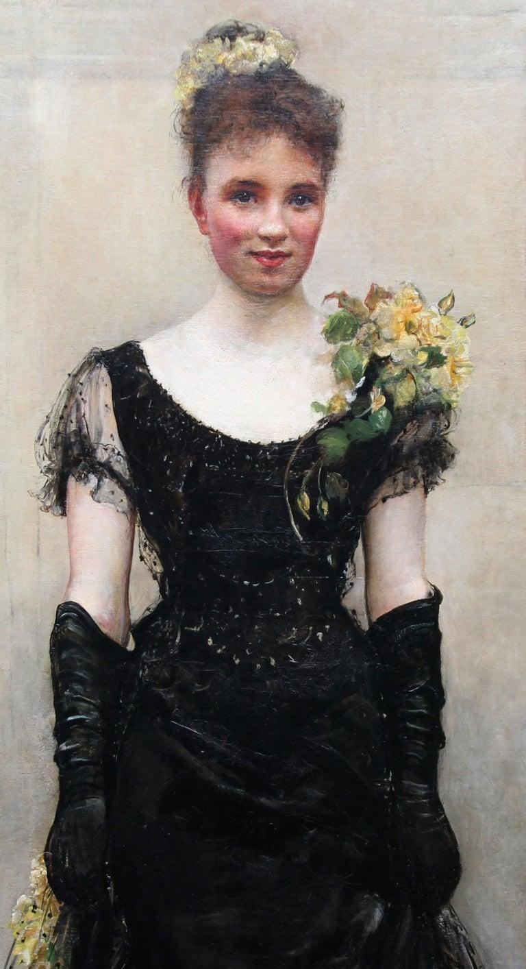 Debutante - British Victorian oil painting portrait Elsie Elizabeth Ebsworth  - Brown Portrait Painting by Annie Louisa Swynnerton