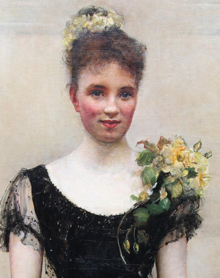 A late 19th century British Society portrait of a beautiful young debutante by Victorian artist Annie Louisa Swynnerton which is signed and dated 1893. It has been suggested that the sitter is Elsie Elizabeth Ebsworth later Mrs George Swinton. She
