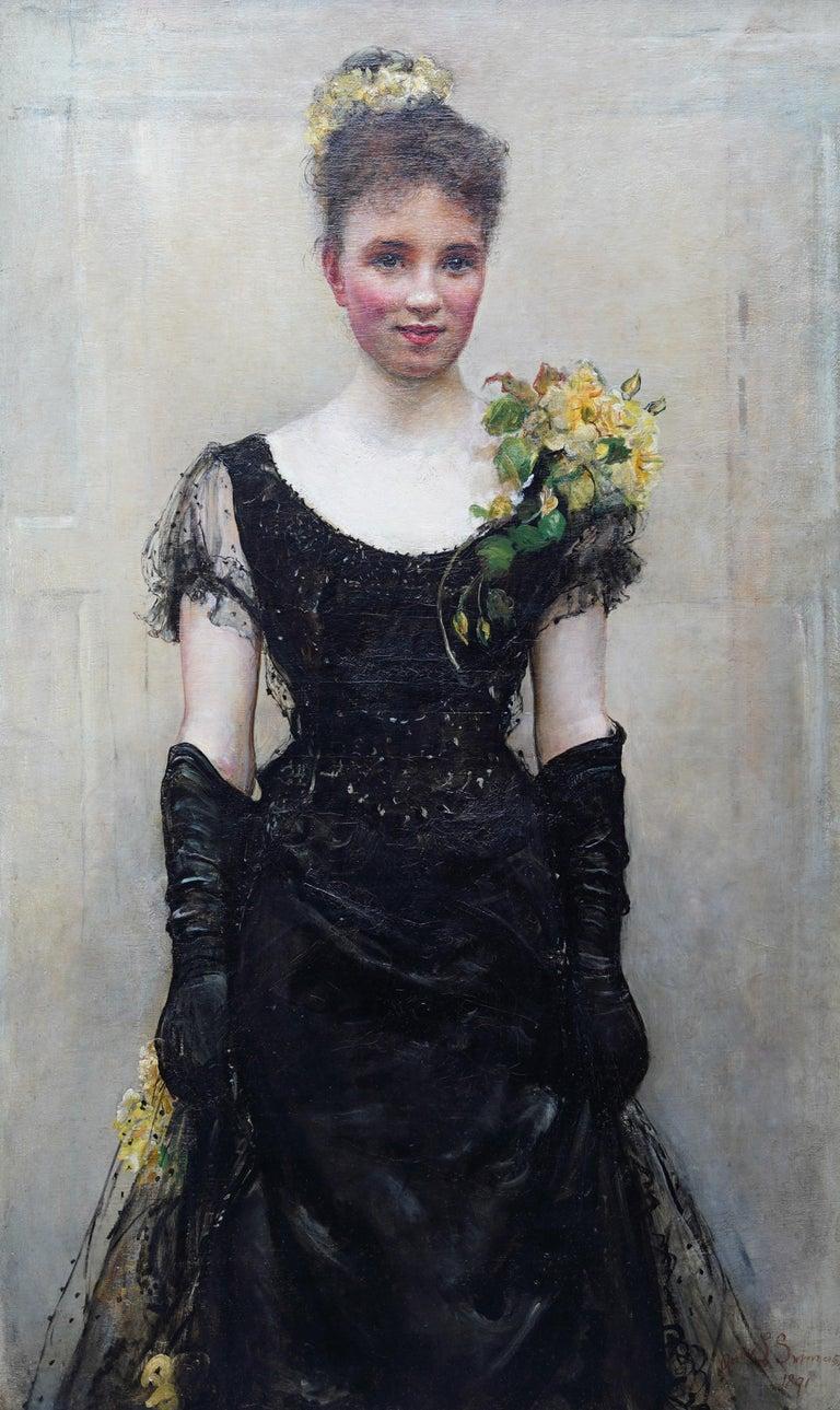 Debutante - British Victorian oil painting portrait Elsie Elizabeth Ebsworth  For Sale 2