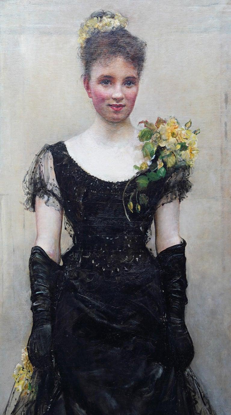 Debutante - British Victorian oil painting portrait Elsie Elizabeth Ebsworth  For Sale 3