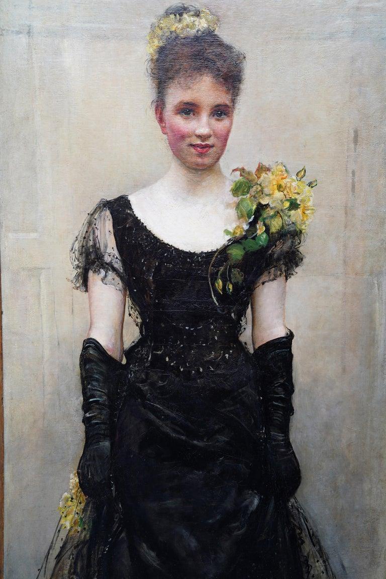 Debutante - British Victorian oil painting portrait Elsie Elizabeth Ebsworth  For Sale 4