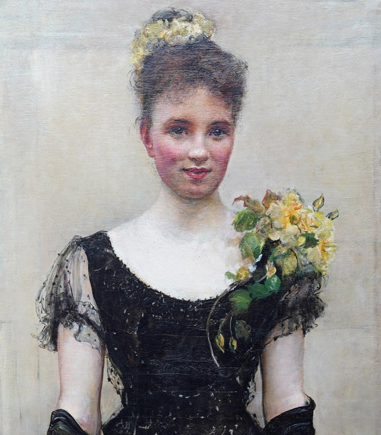 Debutante - British Victorian oil painting portrait Elsie Elizabeth Ebsworth  For Sale 5