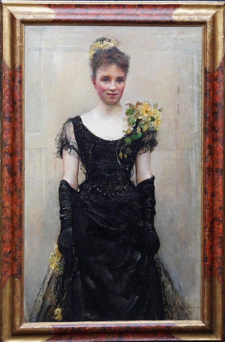 Annie Louisa Swynnerton Portrait Painting - Debutante - British Victorian oil painting portrait Elsie Elizabeth Ebsworth
