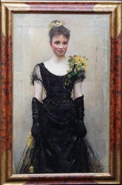 Debutante - British Victorian oil painting portrait Elsie Elizabeth Ebsworth