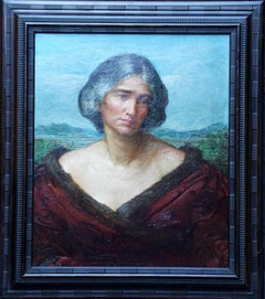 Portrait of a Lady in a Landscape - British 19thC art oil painting