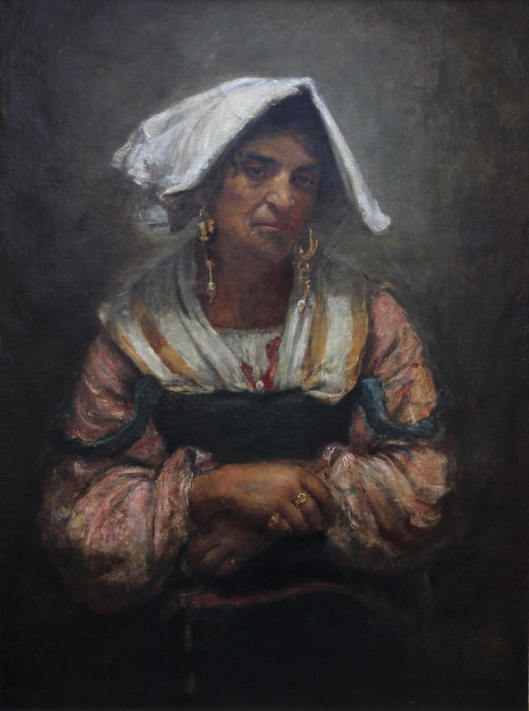 Roma Lady Jebsa - Victorian oil portrait exhibited Manchester Art Gallery 2018 For Sale 6