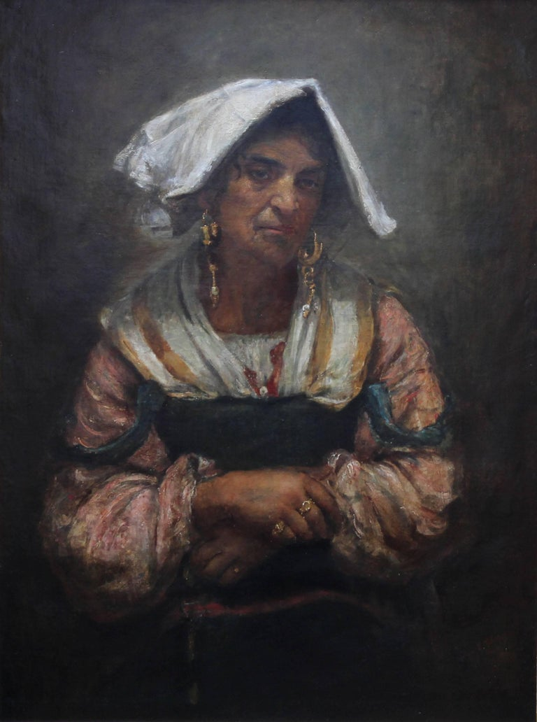 Roma Lady Jebsa - Victorian oil portrait exhibited Manchester Art Gallery 2018 - Painting by Annie Louisa Swynnerton