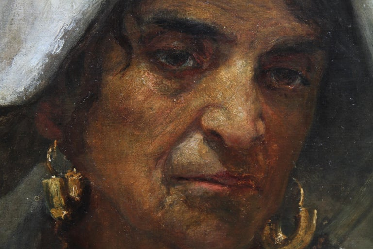 Roma Lady Jebsa - Victorian oil portrait exhibited Manchester Art Gallery 2018 - Black Portrait Painting by Annie Louisa Swynnerton