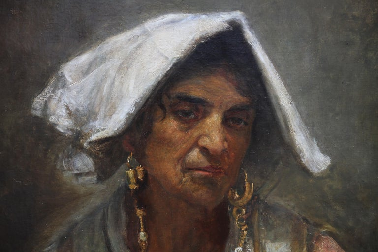 A beautiful colourful oil on canvas portrait by Annie Louisa Robinson (Swynnerton). She was a founder member of the Manchester Society of Women Artists and the first woman for 200 years since Angelica Kaufmann to be given Royal Academy status ASRA.