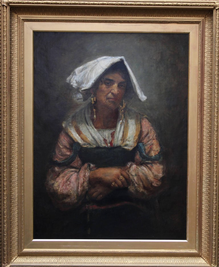 Annie Louisa Swynnerton Portrait Painting - Roma Lady Jebsa - Victorian oil portrait exhibited Manchester Art Gallery 2018