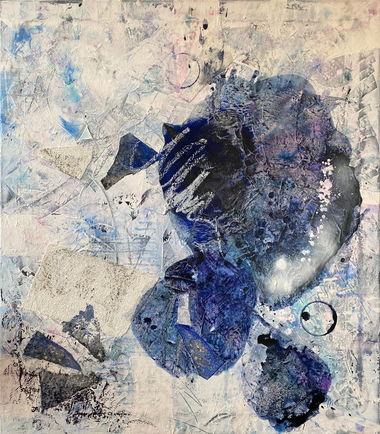 """Off Balances, 2020 48"""" x 42"""" Mixed Media Abstract Painting on Canvas  Signed   This series evolved at a strange time and from an unexpected source. Artist Annie Mandelkern uses unconventional materials in her work, she paints with tools for laying"""