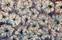 Plummet, Floral Abstract Painting, Mixed Media on Canvas, Signed