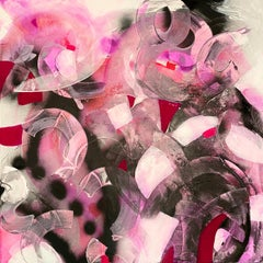 Strawberry Soda, 2020, Mixed Media, Abstract Painting on Canvas, Signed