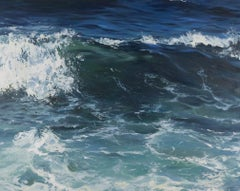 """""""Crystal Blue"""" oil painting of dark blue waves with white sea foam"""