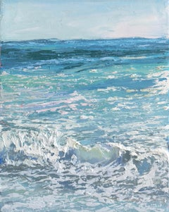 """Crystal Surf I"" small scale oil painting of teal blue waves with white sea foam"