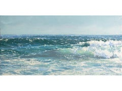 """""""Crystal Surf II"""" Oil painting of a rolling teal blue wave in the ocean"""