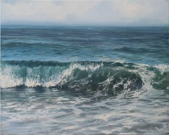 """""""Glistening Roller"""" Ocean Wave in Blue and Green with Paint Splatters"""