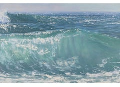 """""""Here Comes the Sun II"""" oil painting of rolling green blue waves"""