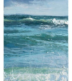 """""""Rolling In"""" small scale oil Painting of teal blue waves and light blue sky"""