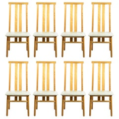 Annig Sarian, Set of Eight Chairs, Model Zea, Italy, circa 1980