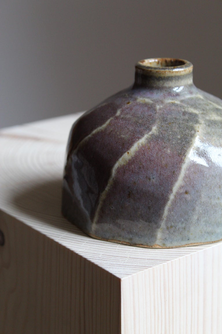 Finnish Annikki Hovisaari, Small Vase, Glazed Stoneware, Arabia, Finland, 1950s For Sale