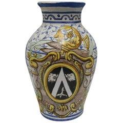 """Anno 1698"" Antique Italian Faience Pottery Vase"