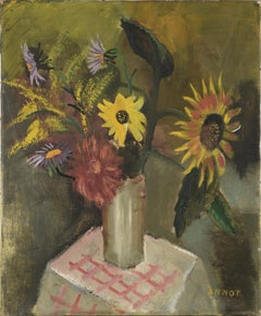 """""""Sunflowers upon pink cover"""" - Still Life"""