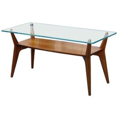 Anonima Castelli 1950 Cherrywood Coffee Table with Glass Top Midcentury