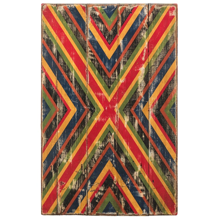 Anonymous Abstract X Geometric Painted Board For Sale