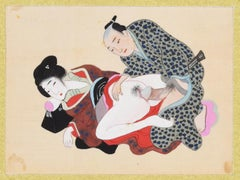 Japanese Erotic scene - Origina Gouache on Silk