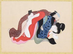 Chinese Erotic Scene - Original Gouache on Silk by Anonymous Chinese Master